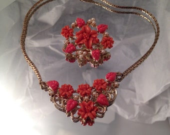 Vintage Coral Necklace Carved Celluloid Jewelry Set Germany Demi Parure