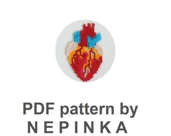 Anatomical heart.Beadwork PATTERN.Brick Stitch.Bead Weaving.Beadwoven jewelry.Pendant.Necklace.Human heart.Greys anatomy.Hannibal.Geek.