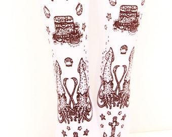 Nautical Squid Pirate Printed Tattoo Tights Narwhal Brown on White Small Medium Lolita Fashion J Steampunk