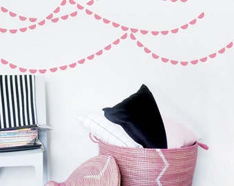 Half Circle Wall Decal Baby Stickers Kids Wall Stickers Baby Nursery Decor Pink Scallop Wall Decal Banner. Semi Circle Children Wall Decal