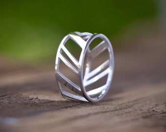 Stripes ring -sterling silver- unisex