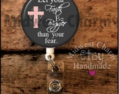 big faith gray pink... Retractable Badge holder..nurse gift..id clip...graduation gift