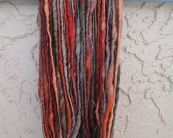 Handspun art yarn BONFIRE 106 yards free U.S. shipping; rust, brown, taupe, copper