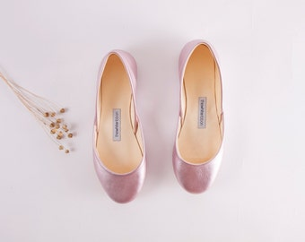 The Metallic Ballet Flats in Rose Gold