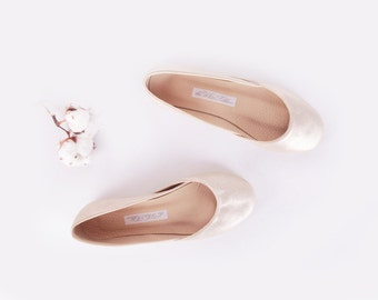 Ballet Flats White Gold | Upcycled Leather | Ballerinas Shoes...made to order