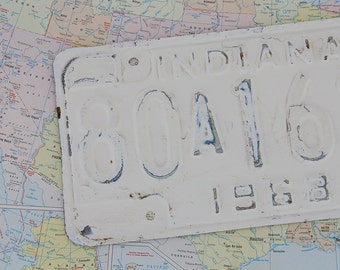Vintage Indiana License Plate - Painted/Distressed