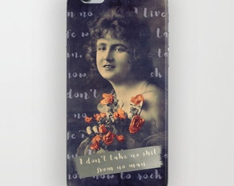 Victorian Galaxy Phone Case, Feminist Art, Vintage Photo Collage, Cat Cell Phone Case, Galaxy 6 Case, iPhone 6, iPhone 6S, Galaxy 4 Phone