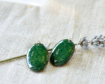 Green dangle earrings - oval enamel earrings - green enamel - sterling silver earwire - artisan jewelry by Alery