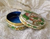 Vintage Enameled Metal Trinket Box Miniature Jewelry Box Pill Box Cobalt Blue Secret Space Oval Dresser Box Vintage 1980s