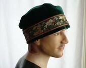 Green Velvet Fez Cap with Woven Trim