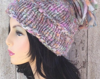 Frosty Loose Pom Pom Chunky Wool Hat