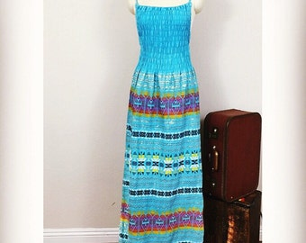 1970's Woven Tapestry Cotton Aztec Dress/ Colorful with Metallic Thread/ 70's Ethnic Maxi Sundress/ Vintage Dress/ Small