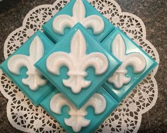 Soap, Handmade Soap, Fleur de Lis Soap, Shea Butter Soap, French Market Soap, Glycerin Soap, Artisan Soap, Wedding Favor, Shower Favor