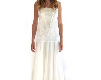 Retro Flapper Dress, Lace Wedding Dress, Flapper Wedding Dress, Great Gatsby Dress, 20s Dress, 1920s Dress, Downton Abbey, Simple Bridal