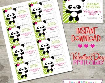 Valentine Panda - Printable Valentine's Day Cards - INSTANT DOWNLOAD
