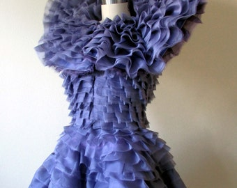 Effie Trinket inspired ruffled purple dress- made to order