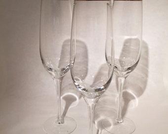 Gold Rimmed Crystal Champagne Flutes - Lenox -Set of 3