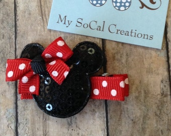 Red and Black Minnie Mouse Inspired Hair Clip with Bow-No Slip Hair Clip