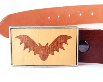 Gifts for Men - Bat Wooden Belt Buckle Jeans for Men - Father's Day