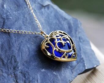 Zelda Heart Container Necklace, Legend of Zelda Heart Necklace, Real Legend of Zelda Pendant, Legend of Zelda Pendant, Blue Heart Container