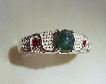 Natural Teal Blue Star Sapphire, Red Ruby, White Topaz In Sterling Silver Ring. Size 6.75