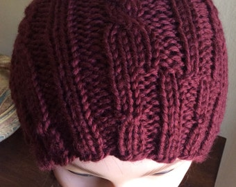 Chunky Knit Hat Knitted Wool Hat Russet Winter Hat Cable Knit Hat Slouchy Beanie