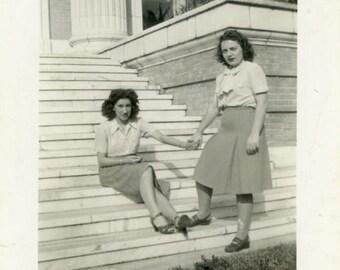 "Vintage Photo ""Forever...Loyal Friends"" Snapshot Old Antique Photo Black & White Photograph Found Paper Ephemera Vernacular - 66"