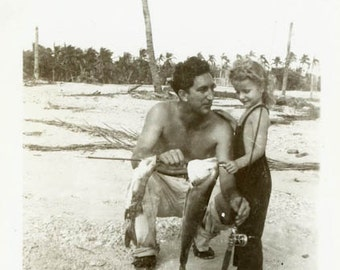 "Vintage Photo ""Tropical Catch of the Day"" Snapshot Antique Photo Black & White Photograph Found Paper Ephemera Vernacular - 182"