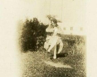 "Vintage Photo ""Swinging Beauty"" Girl Swing Set Playing Snapshot Old Photo Black & White Photograph Found Paper Ephemera Vernacular - 118"
