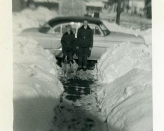 "Vintage Photo ""Winter Visitors"" Car Dog Snow Snapshot Photo Old Photo Black & White Photograph Found Photo Paper Ephemera Vernacular - 107"