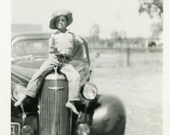 "Vintage Photo ""Little Hoodlum"" Snapshot Old Antique Photo Black & White Photograph Found Paper Ephemera Vernacular - 168"