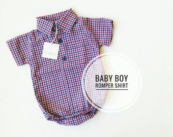 Baby Boy Shirt Bodysuit, Red blue and white checked shirt for little boy, Short Sleeves baby bodysuit