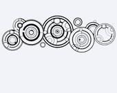 Doctor Who Vinyl Decal, sticker, Gallifreyan language, circles