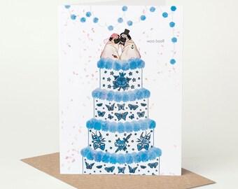 Pug Wedding Card, Mr & Mrs Card // dog wedding card, unique, tattoo wedding card, tying the knot, congratulations, blue, confetti