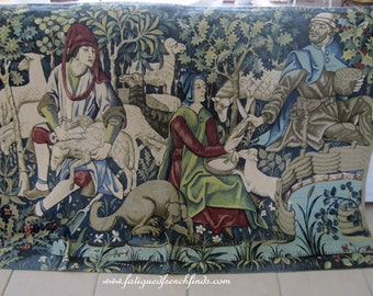 French Tapestry Les Tonte Des Moutons The Sheep Shearing Hand Painted From the 15th Century Original