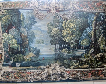 French Hand Painted Tapestry Verdure Au Lac From the Original 17th Century Tapestry Large Size 231 by 167 cms Huge Wall Art Piece