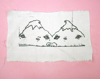 Screen Print Art Patch - Anthropomorphic Mountains in Love