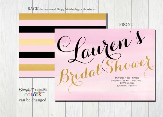 Bridal Shower Invitation Pink Gold, Black, Striped Bridal Shower Invite, Modern Bridal Shower Invitation Wedding Shower Invite