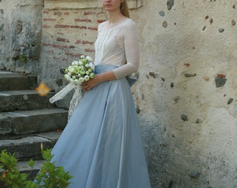 Light blue taffeta skirt with a tale, tulle top - made by your measurements, elegant wedding, formal maxi skirt