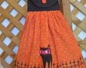 Halloween Black Cat Kitchen Tea Towel, Hanging Dish Towel, Party Towel, Orange Black Kitchen Towel, Black Cat Towel SnowNoseCrafts