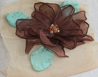 "1930s Vintage Appliqué Flower 5"" Rose Brown Cotton Organdy Fabric -OS"