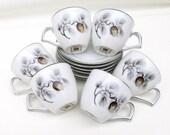 Vintage Demitasse Cups and Saucers / Espresso Cups Set / Silver Pine Demitasse Sets  - Set of 6