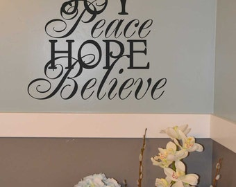 Joy Peace Hope Believe BC359 vinyl wall lettering sticker decal home decor Christmas tree