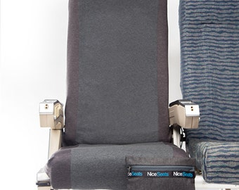 Airplane Seat Cover- Charcoal #27- Nice Seats- Great on Planes, Buses, Trains & Movie Theaters- Make a Clean Getaway