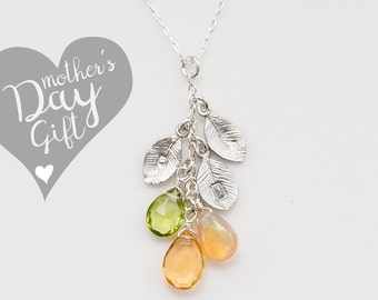 Xmas Gift For Wife - Personalized Mothers Birthstone Cascade Necklace - Custom Initial Jewelry - Personalized necklace - Mommy Necklace