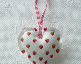 Handmade Cute Strawberry Heart Ornament Fabric Hearts gift for her europeanstreetteam