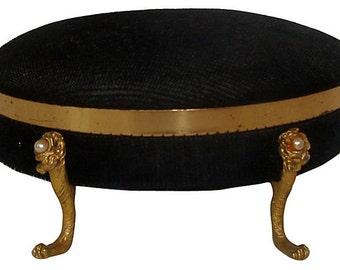 Vintage Vanity Black Velvet Jewelry Box with Paw Feet