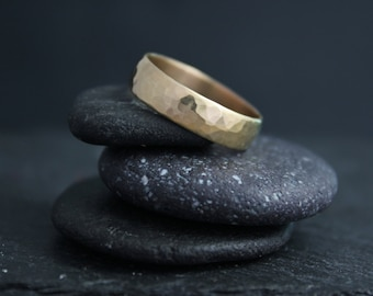 Hammered 14k Yellow Gold Band, 5mm Wide Handmade Gold Band, Hammered Band, Textured Wedding Band, EcoFriendly, Ready to Ship Gold Ring
