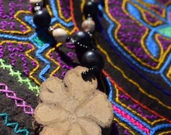 Ayahuasca Necklace - Shipibo, Ayahuasca Jewelry, Huayruro Seeds, Sacred Talisman, Journey Tool , Ceremonial Tool, Sacred Vine