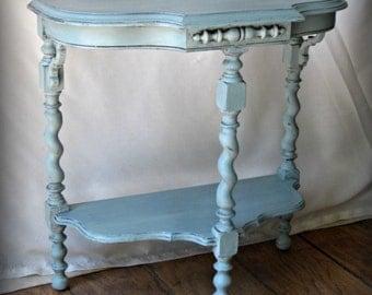 Vintage Demilune Table~Coastal~Farmhouse~Turquoise
